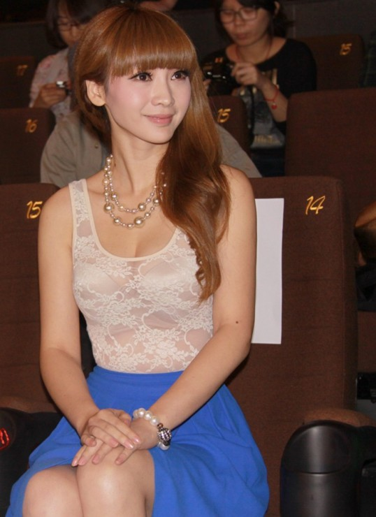 hot Chinese girl Liuyan siting in transparent dress